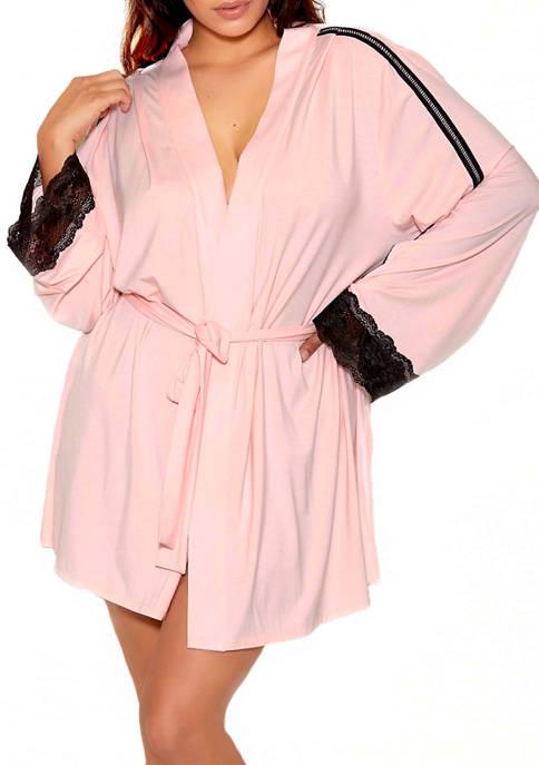 Plus Size Laurel Modal Lace Stripe Robe