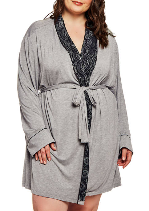 Plus Size Shana Modal Shawl Lace Robe
