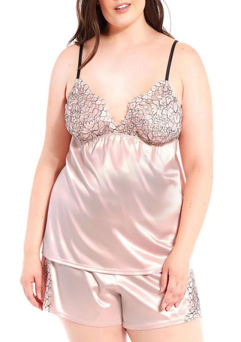 iCollection Plus Size Talise Satin Eyelash Cami Set