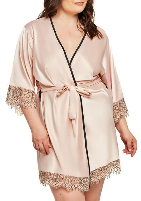 Plus Size Talise Eyelash Satin Robe