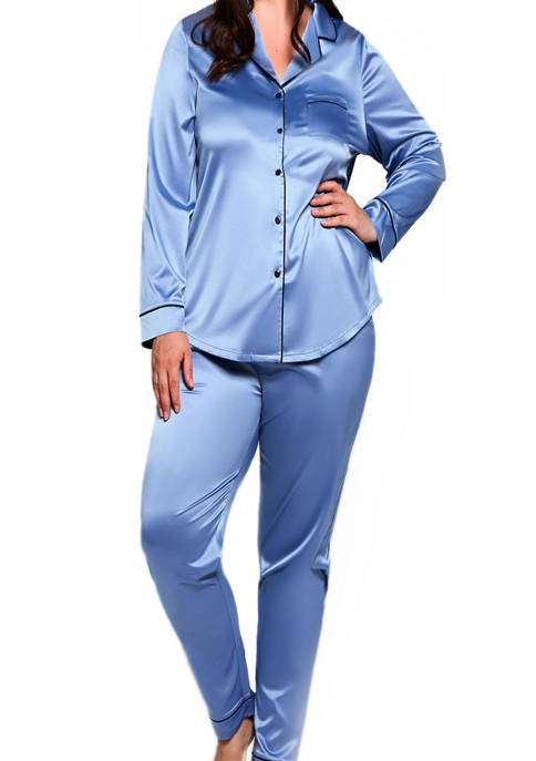 iCollection Plus Size 2-Piece Satin Notch Collar Pajama