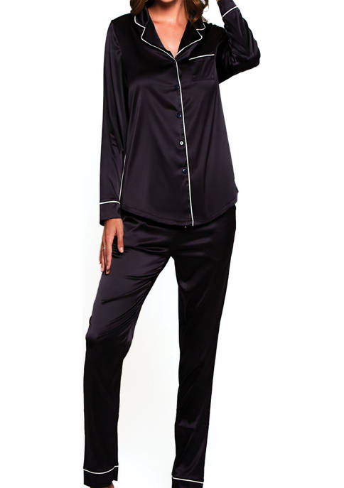 2-Piece Satin Notch Collar Pajama Set