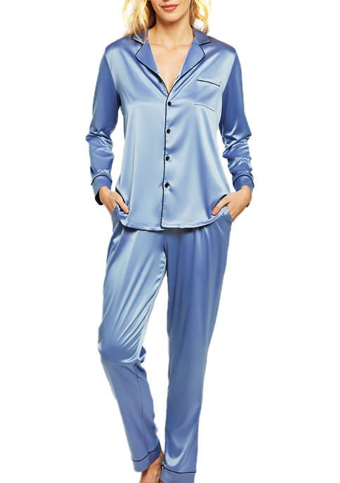 iCollection 2-Piece Satin Notch Collar Pajama Set
