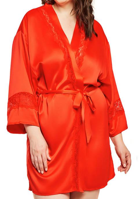 Plus Size Maya Satin and Lace Kimono Robe