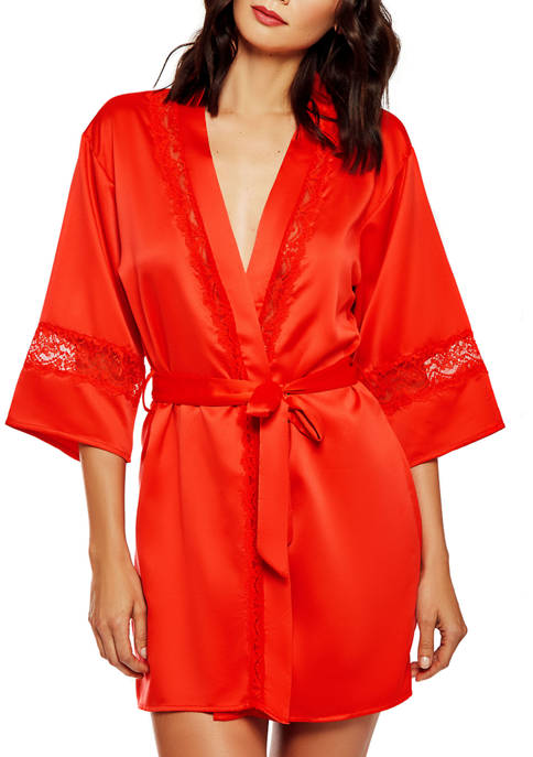 iCollection Maya Satin and Lace Kimono Robe