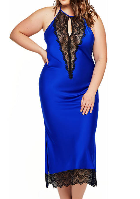iCollection Plus Sizer Tess Satin Lace Gown
