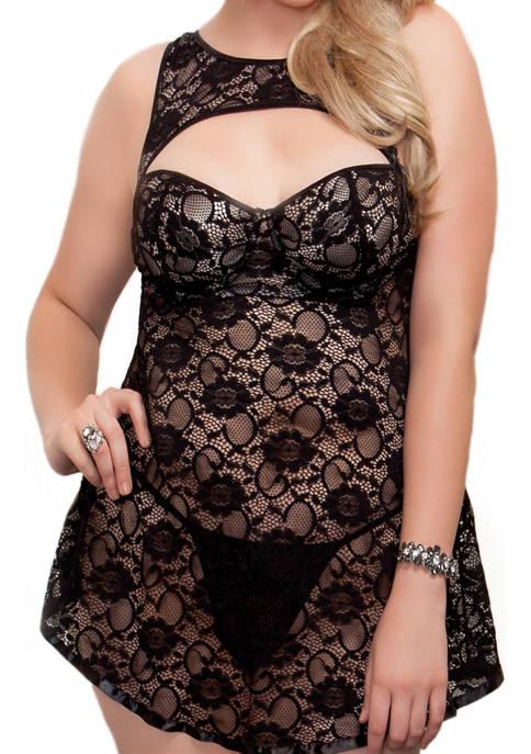 iCollection Plus Size Volette 2 Piece BabyDoll Dress