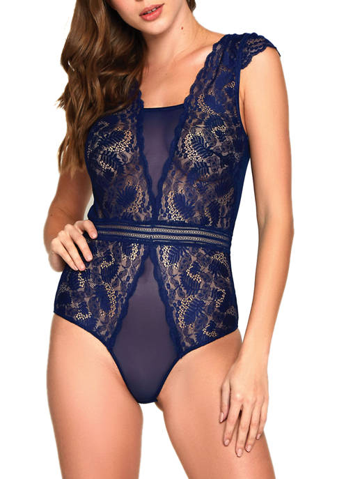 iCollection Cap Sleeve Lace & Mesh Teddy Bodysuit