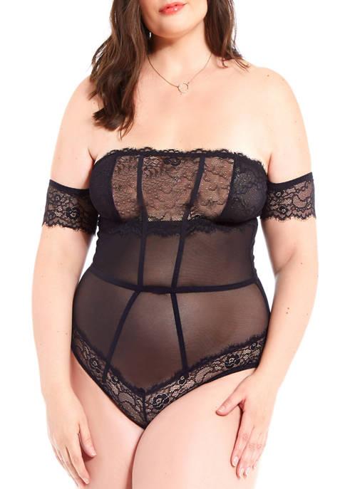 iCollection Plus Size Nadia Princess Lace Bodysuit