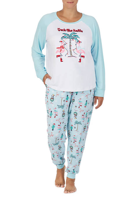 PAJAMARAMA Plus Size Long Sleeve Pajama Set