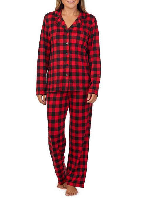 PAJAMARAMA Long Sleeve Notch Collar Pajama Set