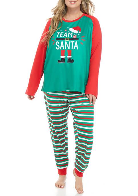 Plus Size Team Santa Elf Family Pajama Set
