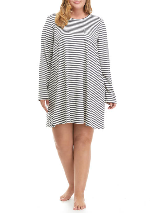 Plus Size Brushed Knit Long Sleeve Sleep Shirt