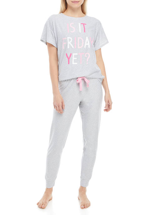 Derek Heart Juniors Yummy Joggers Pajama Set