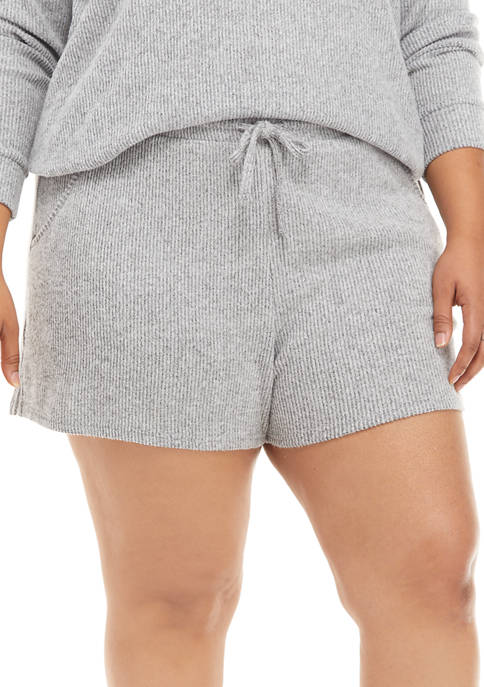 Plus Size Ribbed Hacci Shorts