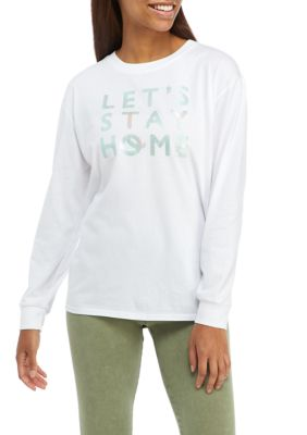 Fifth Sun Womens Long Sleeve Lets Stay Home Graphic Sleep Shirt