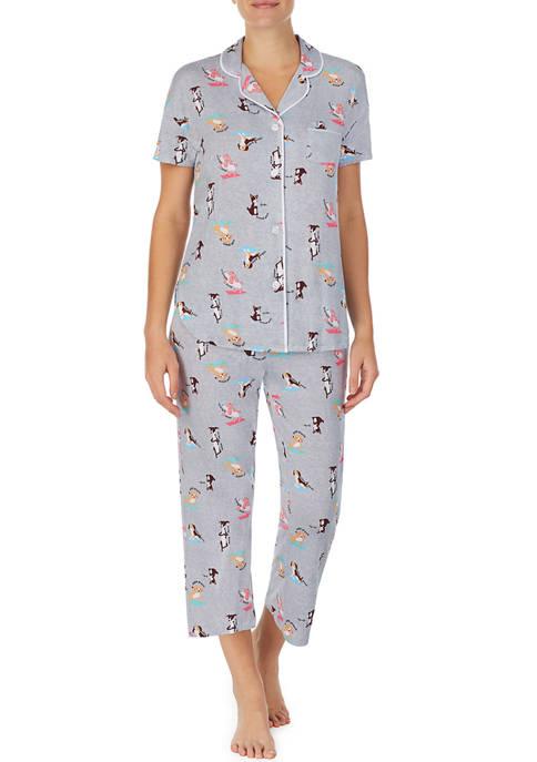 Cuddl Duds® Short Sleeve Notch Collar Pajama Set