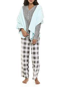 3-Piece Henley Pajama Set