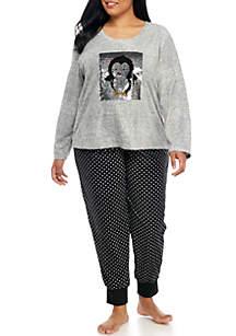 Plus Size Sequin Applique Pajama Set