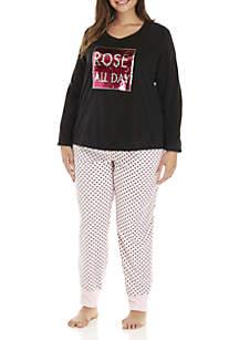 Plus Size 2-Piece Rose` Pajama Set