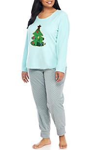 Plus Size Pajama Set with Sequin Applique