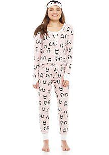 3-Piece Penguin Pajama Set with Eyemask