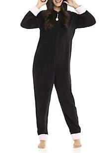 Black Cat Hooded One-Piece Pajama