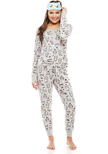3-Piece Microfleece Owl Eye Mask Pajama Set