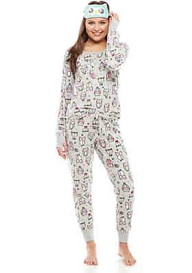 075f8a61d8 PJ Couture 3-Piece Microfleece Owl Eye Mask Pajama Set ...
