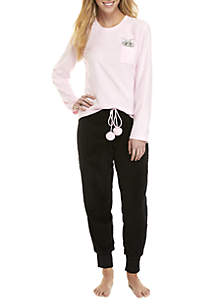 2-Piece Cat Joggers Pajama Set