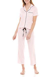 PJ Couture 2 Piece Natcho Stripe Capri Pajama Set