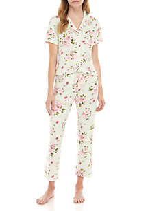 PJ Couture 2 Piece Natch Floral Capri Pajama Set