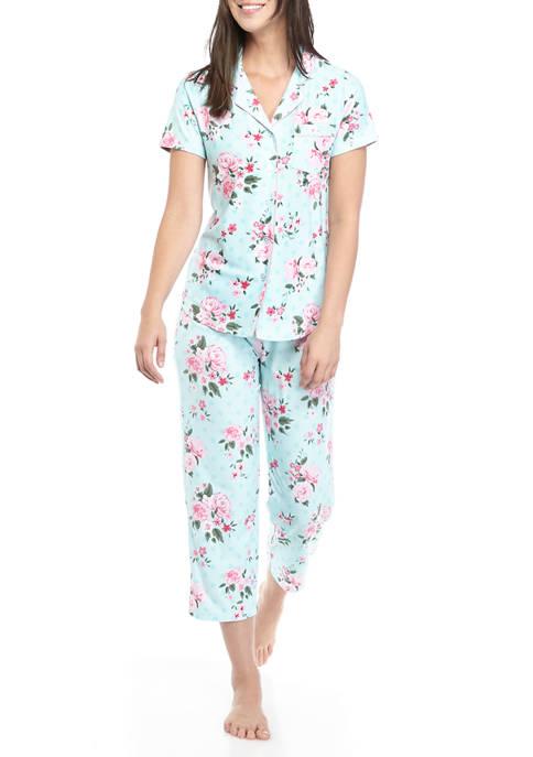 2 Piece Yummy Short Sleeve Notch Capri Pajama Set