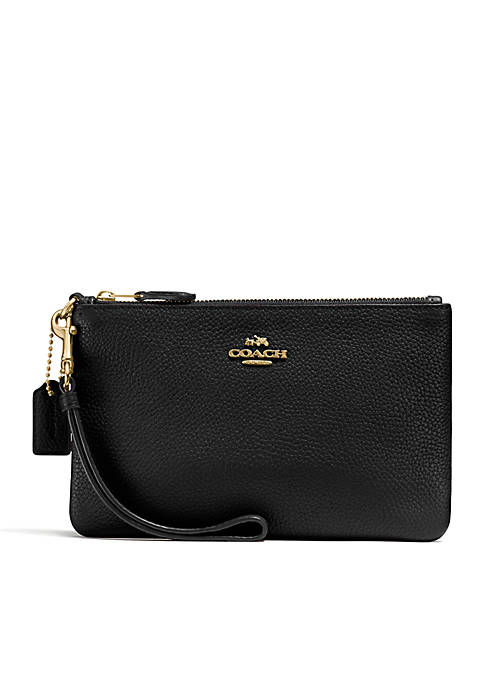 COACH Polished Pebble Small Wristlet