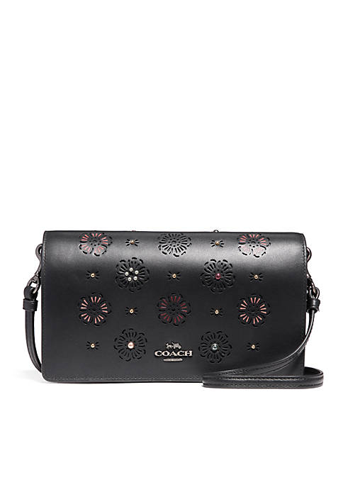 COACH Foldover Crossbody Clutch With Cut-Out Tea Rose