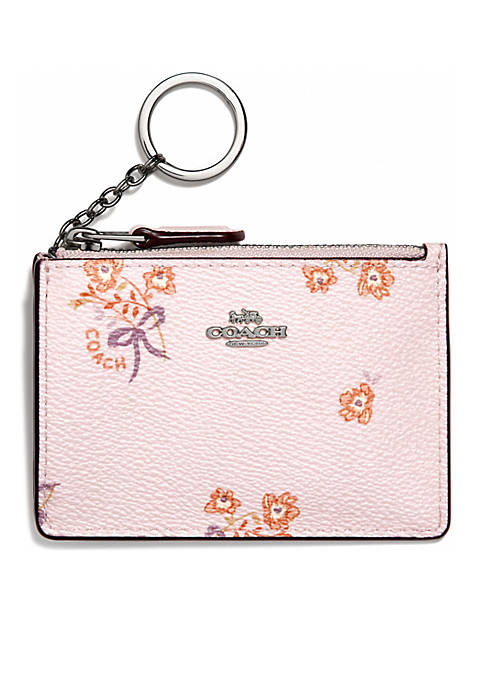 COACH Floral Bow Print Mini Skinny ID Case