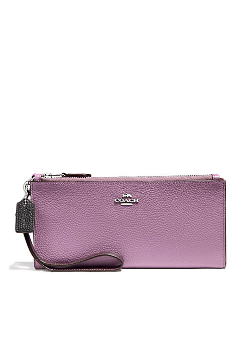 COACH Colorblock Double Zip Wallet
