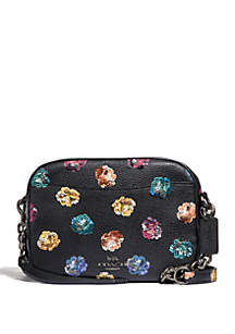 Leather Sequin Camera Crossbody Bag