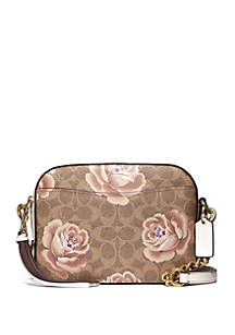 Rose Print Camera Crossbody Bag