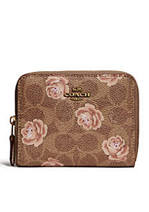 Signature Rose Print Small Zip Wallet