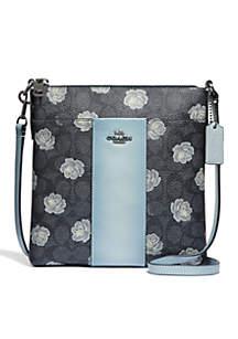Rose Print Messenger Crossbody Bag