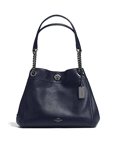 COACH Edie Turnlock Shoulder Bag in Pebble Leather