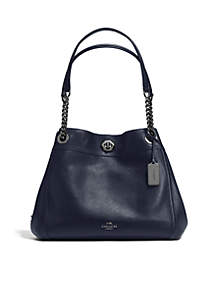 COACH Edie Turnlock Shoulder Bag in Pebble Leather