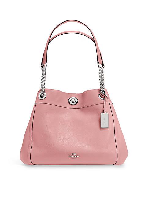 Edie Turnlock Shoulder Bag in Pebble Leather