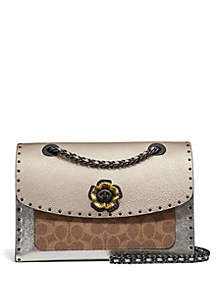 Metallic Parker Shoulder Bag With Rivets And Snakeskin Detail