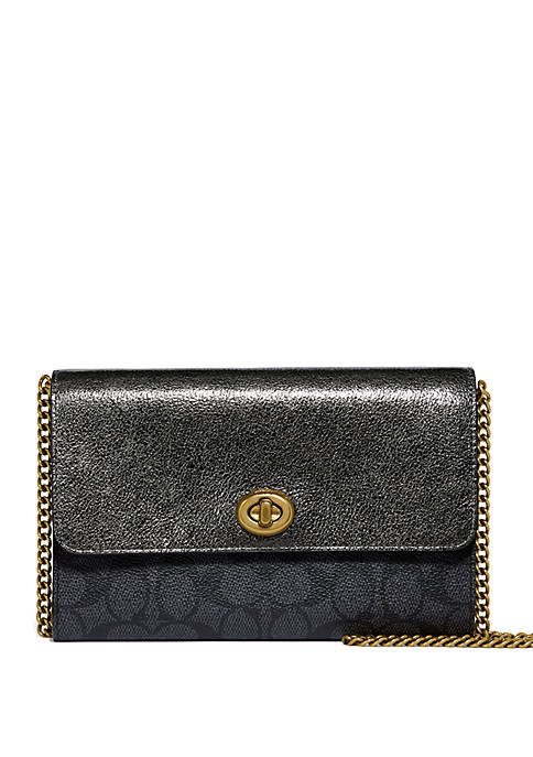 COACH Metallic Colorblock Signature Turnlock Chain Crossbody