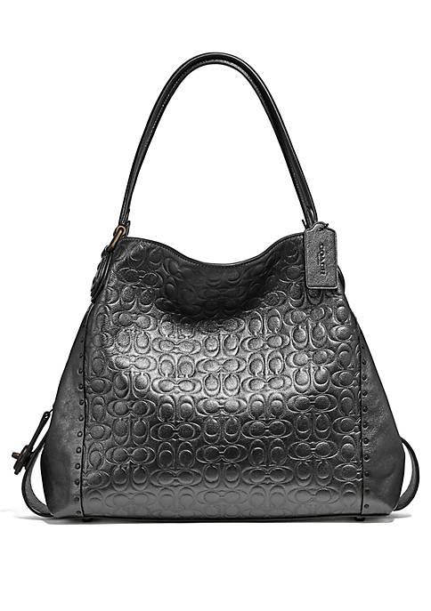 COACH Edie Metallic Signature Leather Shoulder Bag