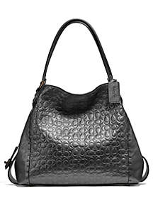 Edie Metallic Signature Leather Shoulder Bag