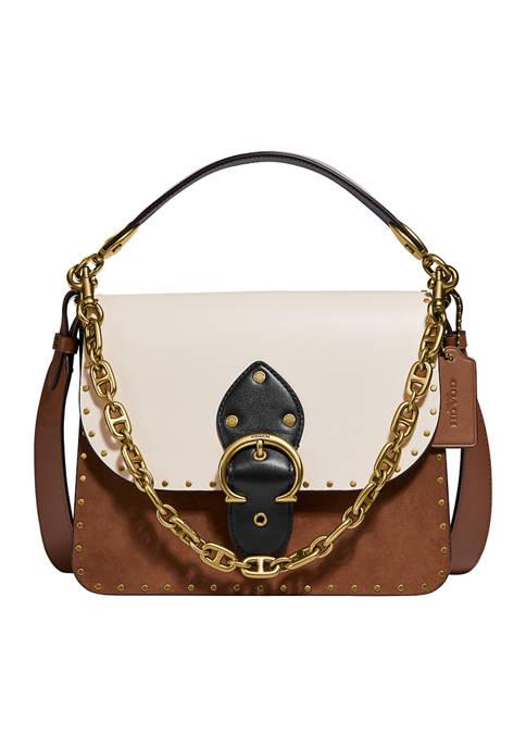 Beat Shoulder Color Block Bag with Rivets