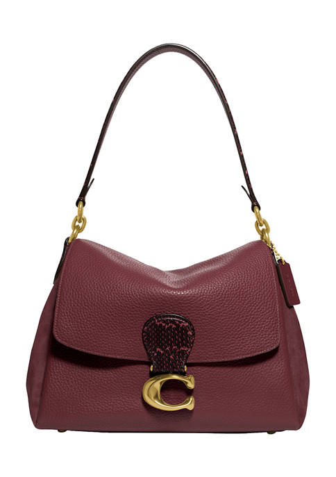 Mixed Leather with Snake Trim May Shoulder Bag